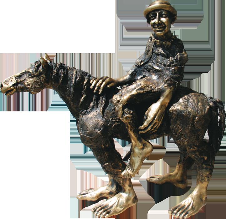 65. Das dumme Glück, Pferde- und Libellen Zyklus, Messing, 50 cm hoch, Archiv