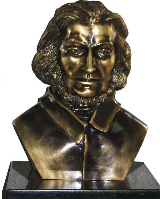 138. Adam Mickiewicz's Bust, brass, 70 cm high, the work ordered by the Primary School in Jedwabne, archive